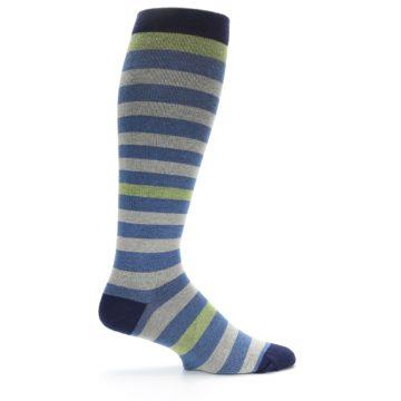 Image of Blue Grey Stripe Men's Compression Dress Socks (side-1-24)