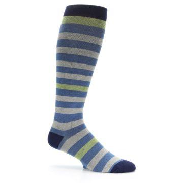 Image of Blue Grey Stripe Men's Compression Dress Socks (side-1-25)