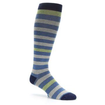 Image of Blue Grey Stripe Men's Compression Dress Socks (side-1-26)