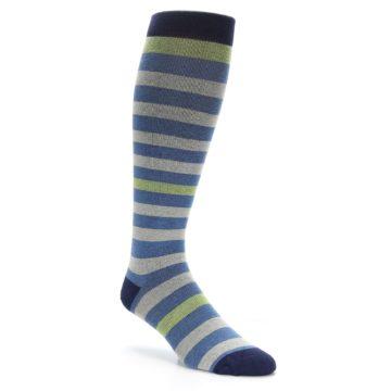 Image of Blue Grey Stripe Men's Compression Dress Socks (side-1-27)