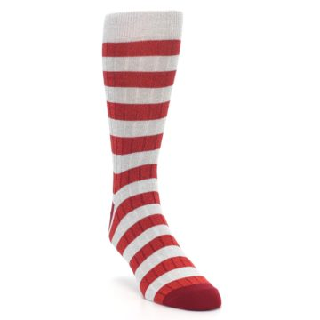 Image of Red Grey Stripe Men's Dress Socks (side-1-front-02)