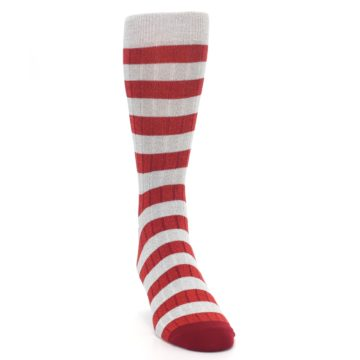 Image of Red Grey Stripe Men's Dress Socks (side-1-front-03)