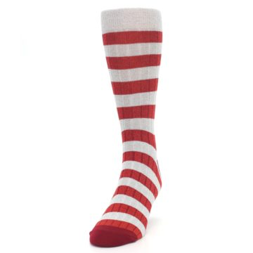Image of Red Grey Stripe Men's Dress Socks (side-2-front-06)