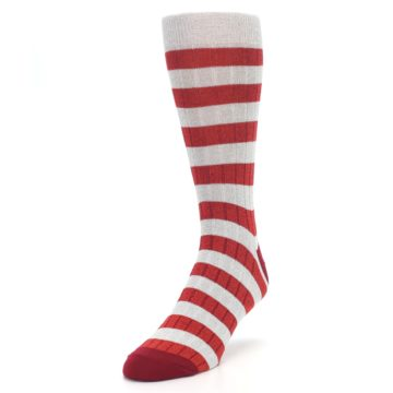 Image of Red Grey Stripe Men's Dress Socks (side-2-front-07)
