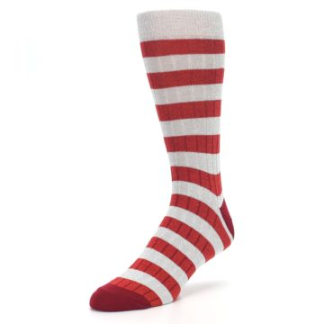 Image of Red Grey Stripe Men's Dress Socks (side-2-front-08)