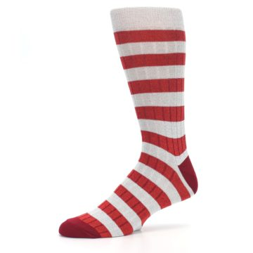 Image of Red Grey Stripe Men's Dress Socks (side-2-10)