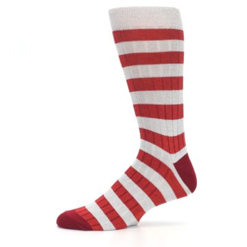 Image of Red Grey Stripe Men's Dress Socks (side-2-11)