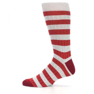 Image of Red Grey Stripe Men's Dress Socks (side-2-12)