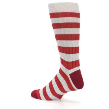 Image of Red Grey Stripe Men's Dress Socks (side-2-back-14)