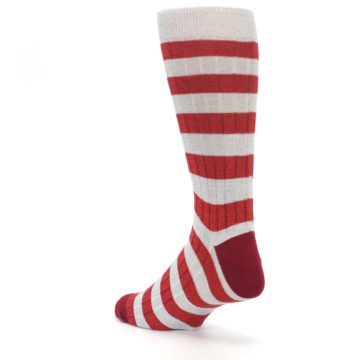 Image of Red Grey Stripe Men's Dress Socks (side-2-back-15)