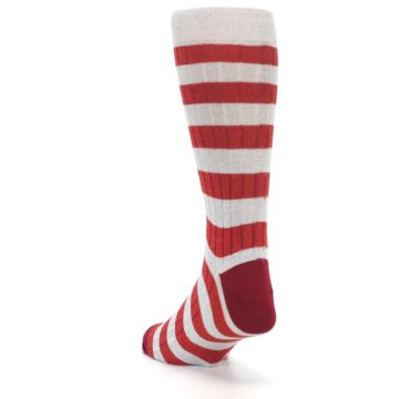 Image of Red Grey Stripe Men's Dress Socks (side-2-back-16)