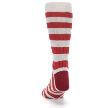 Image of Red Grey Stripe Men's Dress Socks (back-17)