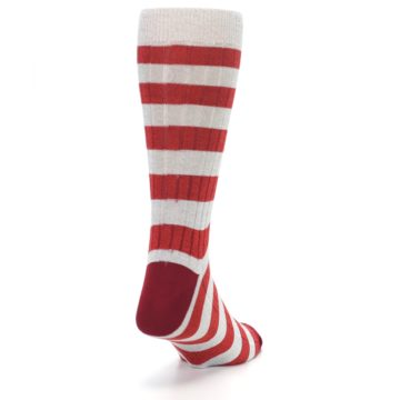 Image of Red Grey Stripe Men's Dress Socks (side-1-back-20)