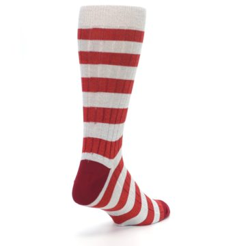 Image of Red Grey Stripe Men's Dress Socks (side-1-back-21)