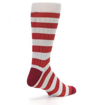 Image of Red Grey Stripe Men's Dress Socks (side-1-back-22)