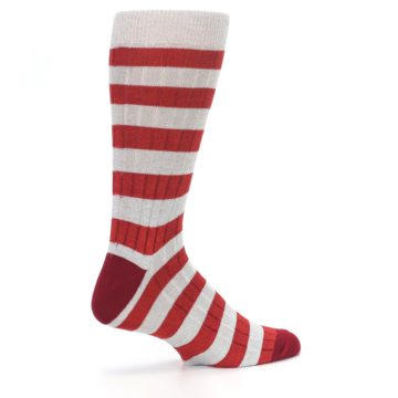 Image of Red Grey Stripe Men's Dress Socks (side-1-23)