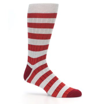 Image of Red Grey Stripe Men's Dress Socks (side-1-25)