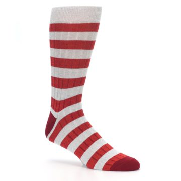 Image of Red Grey Stripe Men's Dress Socks (side-1-26)