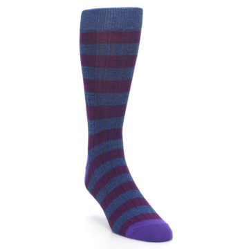 Image of Blue Purple Stripe Men's Dress Socks (side-1-front-02)