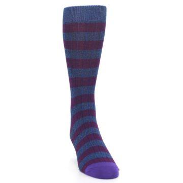 Image of Blue Purple Stripe Men's Dress Socks (side-1-front-03)