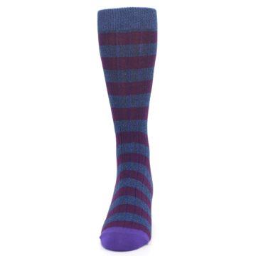 Image of Blue Purple Stripe Men's Dress Socks (front-05)