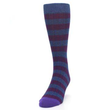 Image of Blue Purple Stripe Men's Dress Socks (side-2-front-06)