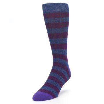 Image of Blue Purple Stripe Men's Dress Socks (side-2-front-07)