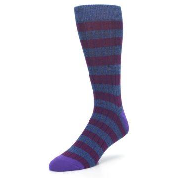 Image of Blue Purple Stripe Men's Dress Socks (side-2-front-08)