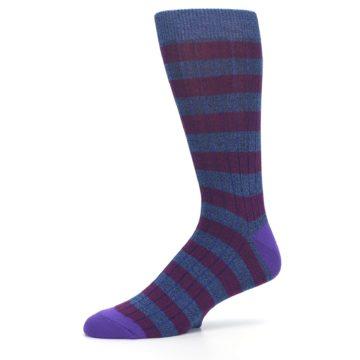 Image of Blue Purple Stripe Men's Dress Socks (side-2-10)