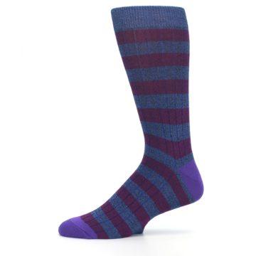 Image of Blue Purple Stripe Men's Dress Socks (side-2-11)