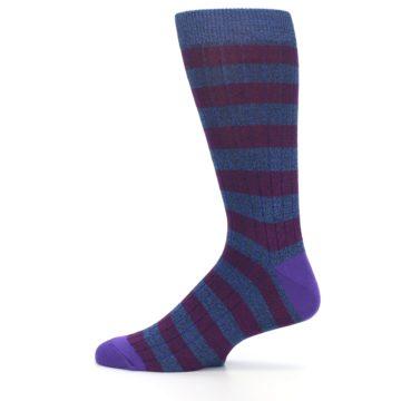 Image of Blue Purple Stripe Men's Dress Socks (side-2-12)