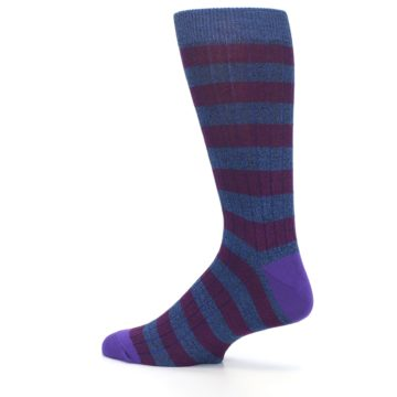 Image of Blue Purple Stripe Men's Dress Socks (side-2-13)