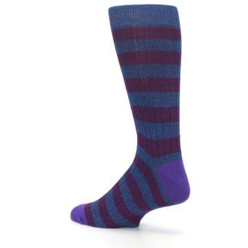 Image of Blue Purple Stripe Men's Dress Socks (side-2-back-14)