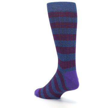 Image of Blue Purple Stripe Men's Dress Socks (side-2-back-15)