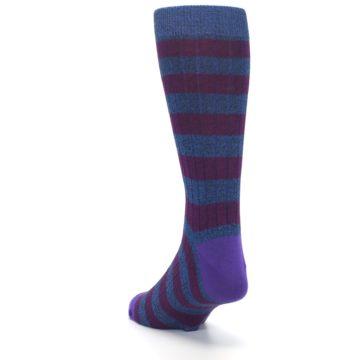 Image of Blue Purple Stripe Men's Dress Socks (side-2-back-16)