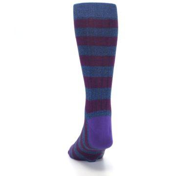 Image of Blue Purple Stripe Men's Dress Socks (back-17)
