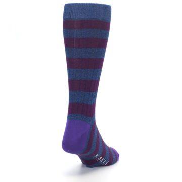 Image of Blue Purple Stripe Men's Dress Socks (side-1-back-20)