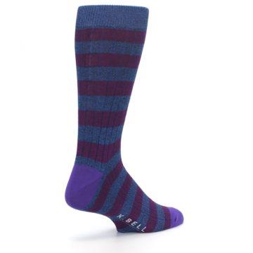 Image of Blue Purple Stripe Men's Dress Socks (side-1-back-22)
