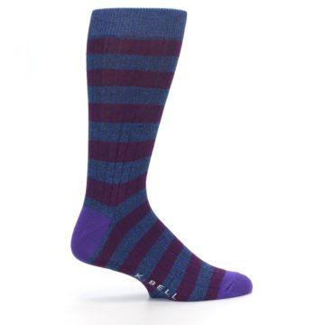 Image of Blue Purple Stripe Men's Dress Socks (side-1-24)
