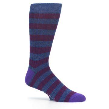 Image of Blue Purple Stripe Men's Dress Socks (side-1-25)