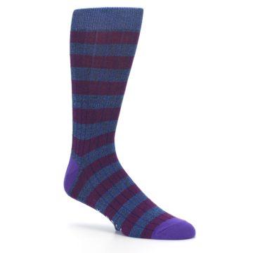 Image of Blue Purple Stripe Men's Dress Socks (side-1-26)