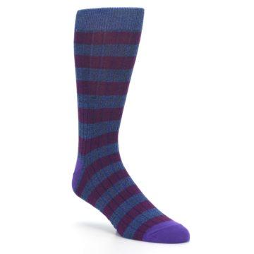 Image of Blue Purple Stripe Men's Dress Socks (side-1-27)