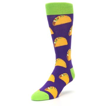 Image of Purple Tacos Men's Dress Socks (side-2-front-08)