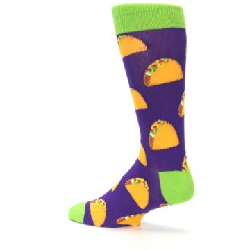 Image of Purple Tacos Men's Dress Socks (side-2-back-14)