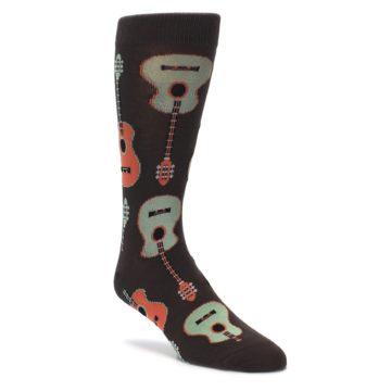 Brown orange musical instrument dress socks by socksmith