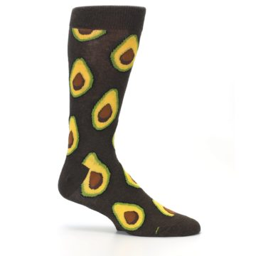 Image of Brown Yellow Avocado Men's Dress Socks (side-1-25)