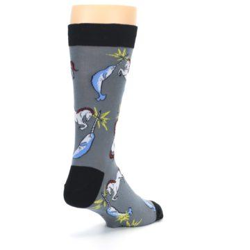Image of Unicorn vs Narwhal Men's Dress Socks (side-1-back-21)