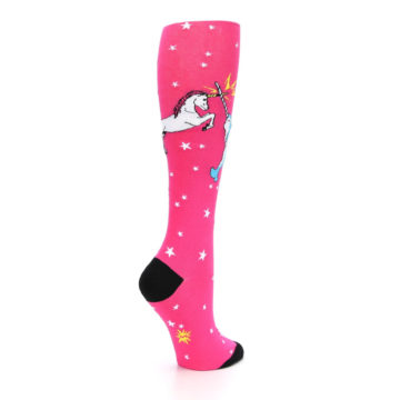 Image of Pink Unicorn vs Narwhal Women's Knee High Sock (side-1-back-22)