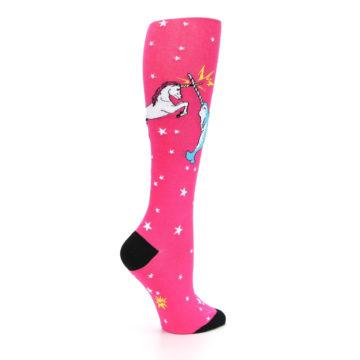 Image of Pink Unicorn vs Narwhal Women's Knee High Sock (side-1-23)