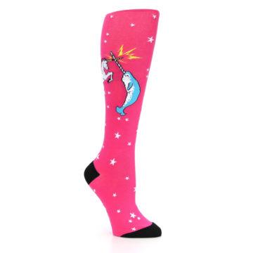 Image of Pink Unicorn vs Narwhal Women's Knee High Sock (side-1-26)